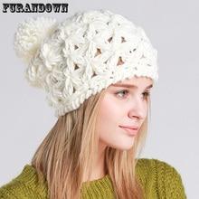 2017 New Autumn Winter Pompom Beanie Hats For Women Girls Crochet Beanie Caps Knitted Cotton Beanies Skullies