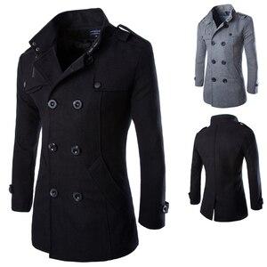 Image 5 - Drop verschiffen herbst männer staub mantel woolen mantel slim fit outwear 2 farben M 5XL AYG118