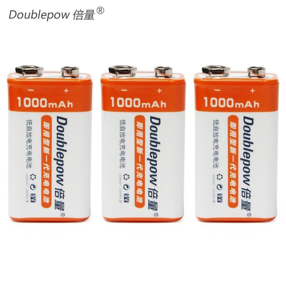 Candid Doublepow 3pcs/set Original 9v 1000mah Lsd Li-ion Rechargeable Battery Prismatic Batteries With 1200 Cycle Top Watermelons
