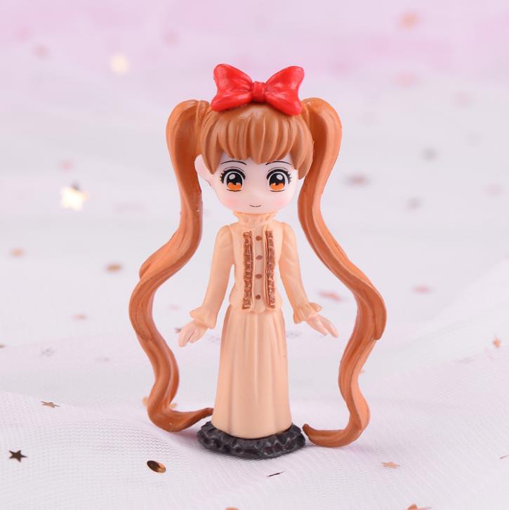 1 Pc Kawaii Cartoon Long Hair Beautiful Girl Model Action Figure Toy DIY Resin Craft Ornament Doll Toy-4