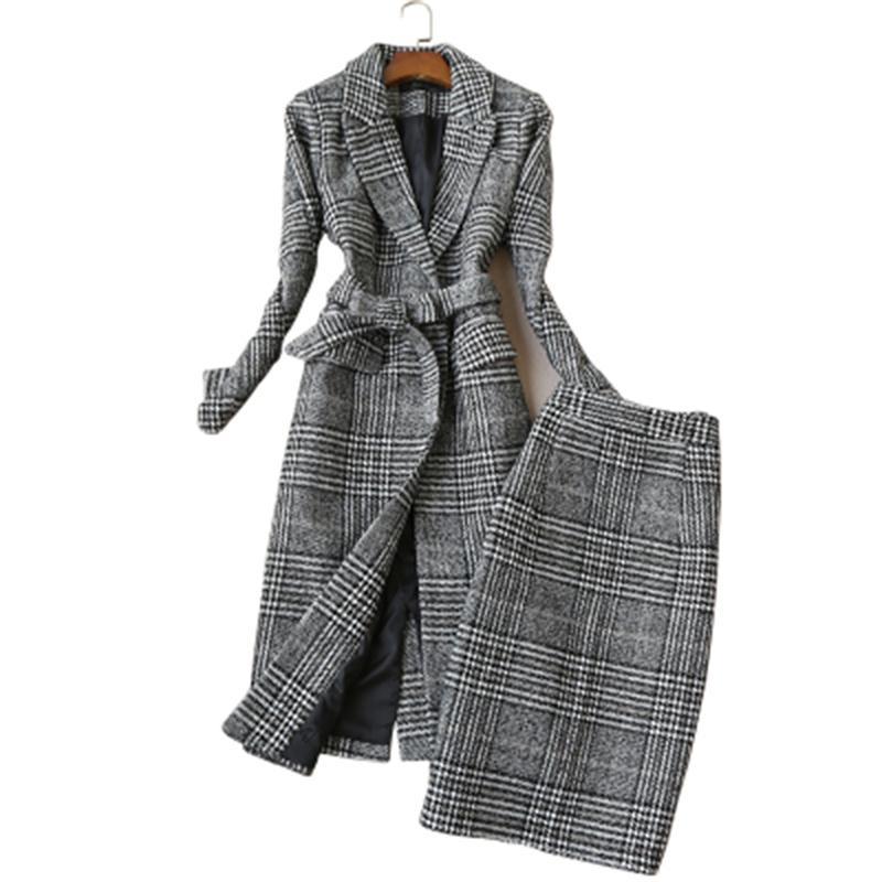 Plaid suit Women Autumn and winter New Plaid woolen suit jacket female Tweed plaid coat suit