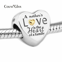 Fits Bracelet Charms New Autumn Beads for Jewelry Making Heart of the Family Charm Genuine 925 Sterling Silver Beads Not Plated
