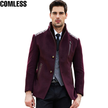 2017 New Winter Men Full Wool Trench Coat Men Long Windbreaker Slim Fit Overcoat High-quality Men's Coats Fashion Jackets XXXL