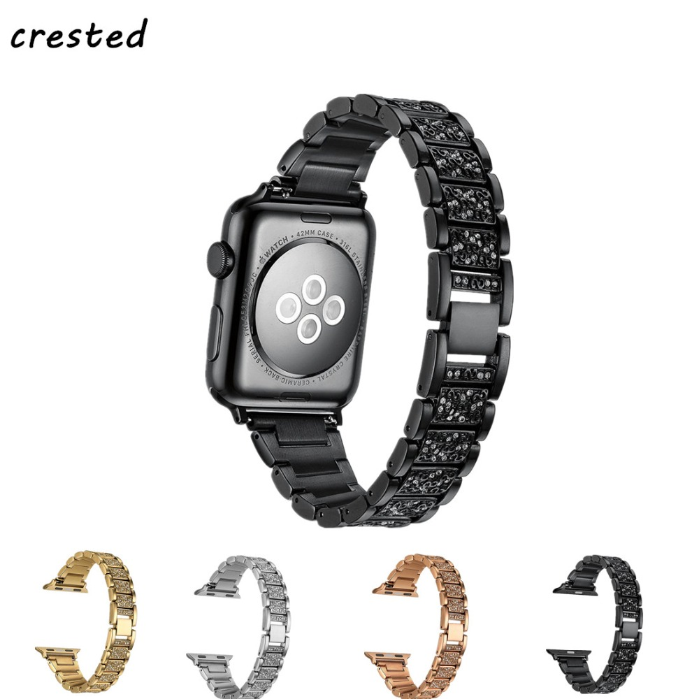 CRESTED Diamonds strap for apple watch band 3 42mm 38mm iwatch 3/2/1 stainless steel link bracelet smart wrist watch band 2018 crested stainless steel watch band for fitbit charge 2 bracelet smart watch strap for fitbit charge2 with connector