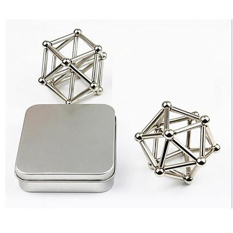 Prosotrmer 36pcs Magnets Rod + 27pcs Steel Balls 3D Creative neodymium magnet imanes NdFeB aimant DIY Beads Magic Cube Balls
