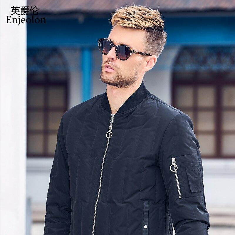 Enjeolon ฤดูหนาวหนาฤดูหนาวลงเสื้อแจ็คเก็ตผู้ชาย light parka coat ชาย warm parka coat 3XL ลง parka YR0122-ใน แจ็กเก็ตดาวน์ จาก เสื้อผ้าผู้ชาย บน   2