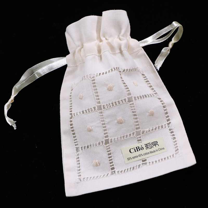 B008-B : Beige Ramie/cotton Drawstring Hand Drawn Thread Embroidery Gift Bags 12pieces/pack 5x7 Inches Sachet Bags, Travel Pouch