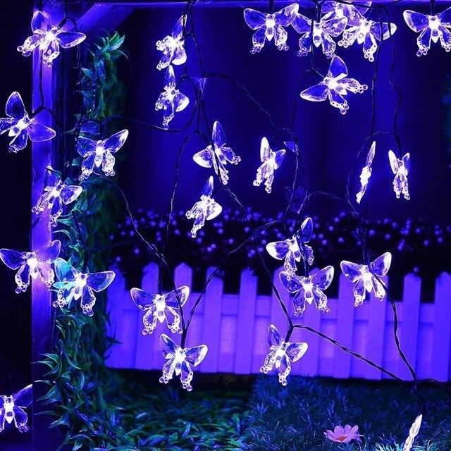 Guirnaldas de luces alimentadas por energía solar al aire libre 20 libélulas mariposas iluminación de hadas para árboles de Navidad, jardín, boda, decoración de fiestas
