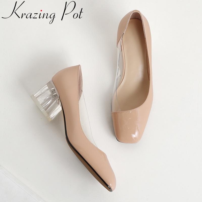 2019 superstar genuine leather high heels square toe slip on shallow women pumps sweet brand elegant