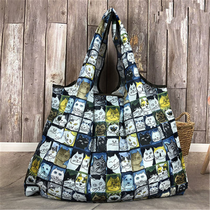 Cute Cat Tote Foldable Colors ECO Reusable Polyester Portable Shoulder Handbag Cartoon Green Folding Pouch Shopping Bag