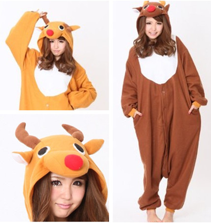 Red nose elk cute deer Christmas gift deer cartoon animal pajamas conjoined orange deer