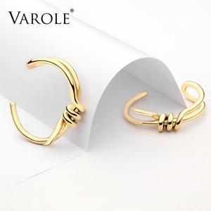 Image 2 - VAROLE Bracelet de manchette avec nœud, élégant, couleur or, bijoux, vente en gros, Bracelets pour femme