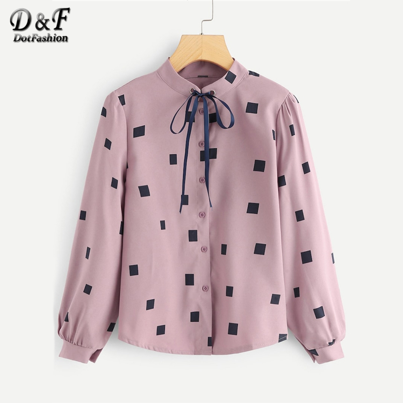 Dotfashion Pink Knot Geometric Print   Blouse     Shirt   Women Casual 2019 New Tops Spring Autumn Long Sleeve Clothing Placket   Shirts