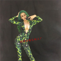 2018 NEW WOMEN Green Leopard Printed Bodysuit Stage Sexy Outfit Female Singer Leggings One Piece Nightclub Costume