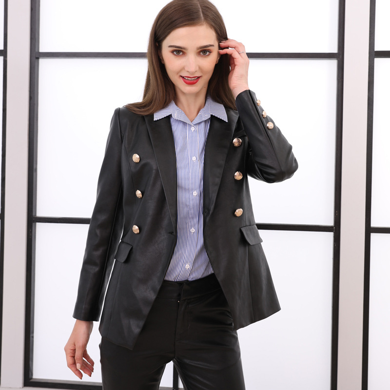 Selfless Fall Winter Womens Blazer Leather Coat Lion Metal Buttons Streetwear Girl Pu Jacket Fashion Slim Suits Overcoat Plus Size To Be Renowned Both At Home And Abroad For Exquisite Workmanship Suits & Sets Skillful Knitting And Elegant Design