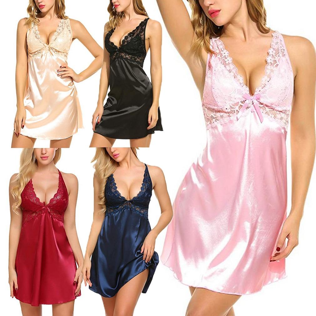Women Sexy Lace Lingerie Satin Sleep Dress Nightwear Babydoll Sleepwear Skirt