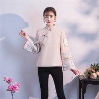 Традиционное Женское пальто ручной работы на пуговицах, зимняя новая куртка в китайском стиле, теплая плотная верхняя одежда, воротник манд...