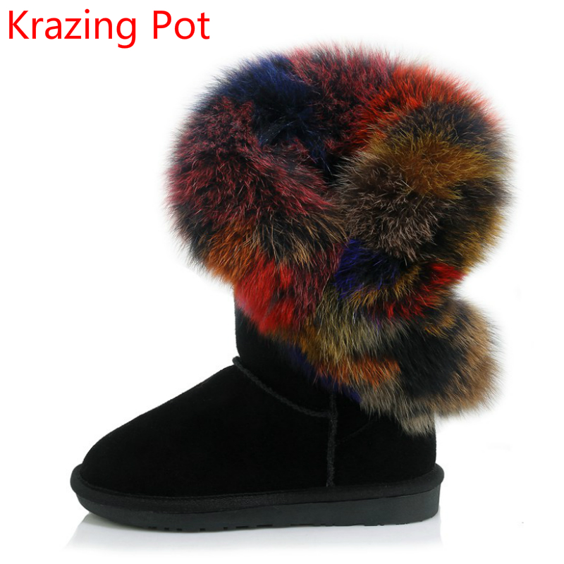 2018 New Arrival Cow Suede Round Toe Low Heel Colorful Fox Fur Winter Shoes Keep Warm Snow Boots Brand Luxury Mid-calf Boots L75 new arrival 2016 winter keep warm women boots low heel round toe platform shoes solid genuine leather mid calf boots