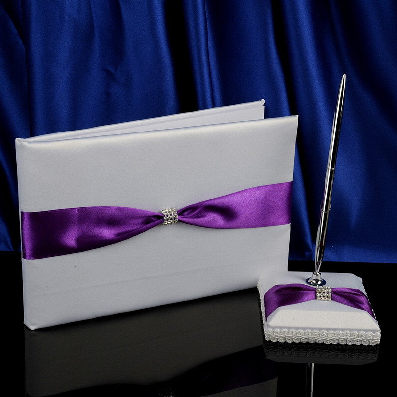 wholesale color purple and white Lilac Ribbons Wedding Guestbook and Pen Set for wedding supplies