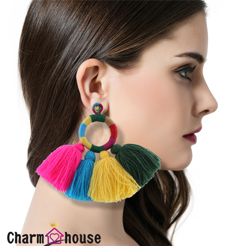 Halloween Costume Jewelery Handmade Fan Cotton Tassel Earrings for Women African Big Long Ethnic Fringed Earring Bohemian Bijoux
