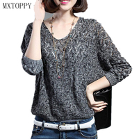 Sexy Autumn And Winter Women Basic Pullover Hollow Sweaters Loose Knit V Neck Solid Female Slit