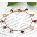 Joyería de Moda más reciente Ronda Multicolor Pulsera de Cristal Para Las Mujeres Promoción Rose Oro/18 k Oro