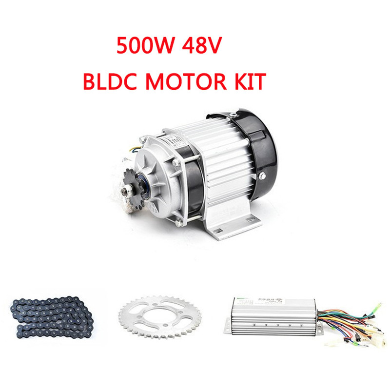 Umbausat 500 W 48 V Kit moteur sans balais BLDC moteur Tricycle électrique Kits complets moteur à entraînement moyen ensemble avec contrôleur e-car partie