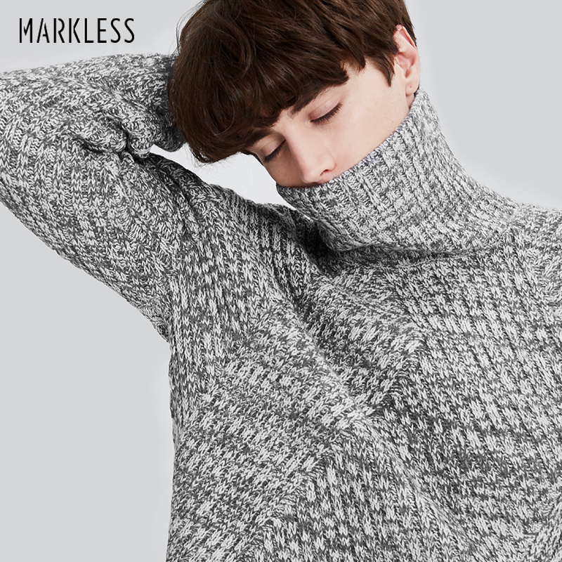 Markless Winter Turtleneck Christmas Sweater Men Brand Clothing Fashion Casual Thick Warm Knitted Sweater Men Pullovers turtleneck slit knitted sweater