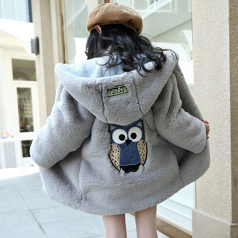 Kids Faux Fur Coat Winter Children Regular Zipper Hooded Full Length Cartoon Warm Thick Jackets Girl Wholesale High Quality Pink faux fur coat