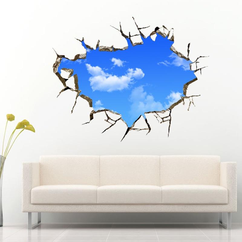 3d sticker wall sticker 5070cm landscape blue sky white cloud poster quarto bedroom wall decals