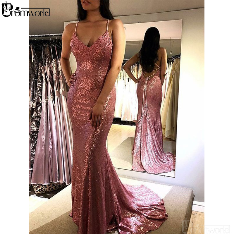 Blush Pink Prom Dresses 2019 Sweep Train Spaghetti Straps Sequins Party Maxys Backless Sexy Mermaid Evening Dress Long Prom Gown