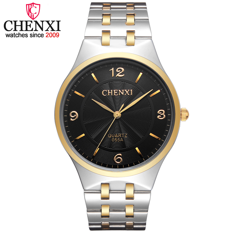 CHENXI Brand Top Luxury Simple Fashion Casual Business Watch Men Gold&Silver Waterproof Quartz Male Wristwatch Relogio Masculino luxury top brand chenxi men dress watch stainless steel gold silver quartz wristwatch waterproof retro male business clock
