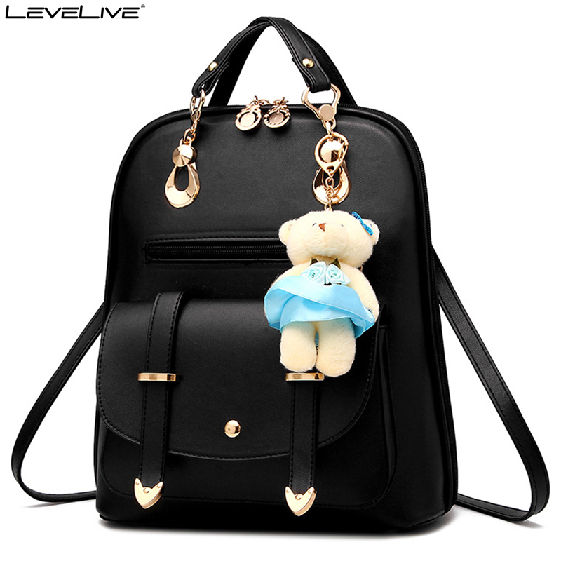 LeveLive Fashion Women Mini Backpack with Bear Pendant PU Leather School Bags for Teenage Girls Female Rucksack Ladies Bagpack 4pcs set women fashion backpack pu leather teenage school bag casual clutch crossbody travel bags for girls with purse and bear