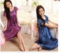 2016 camisola Sleepwear Chegada, Moda Início Vestuário Feminino Collar Camisolas De Seda, Venda Quente Rendas Mangas Curtas Das Mulheres