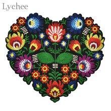 Lychee в форме сердца Цветочная вышивка аппликация нашивки для одежды Железная нашивка аппликация для DIY одежды куртки шитье ремесло