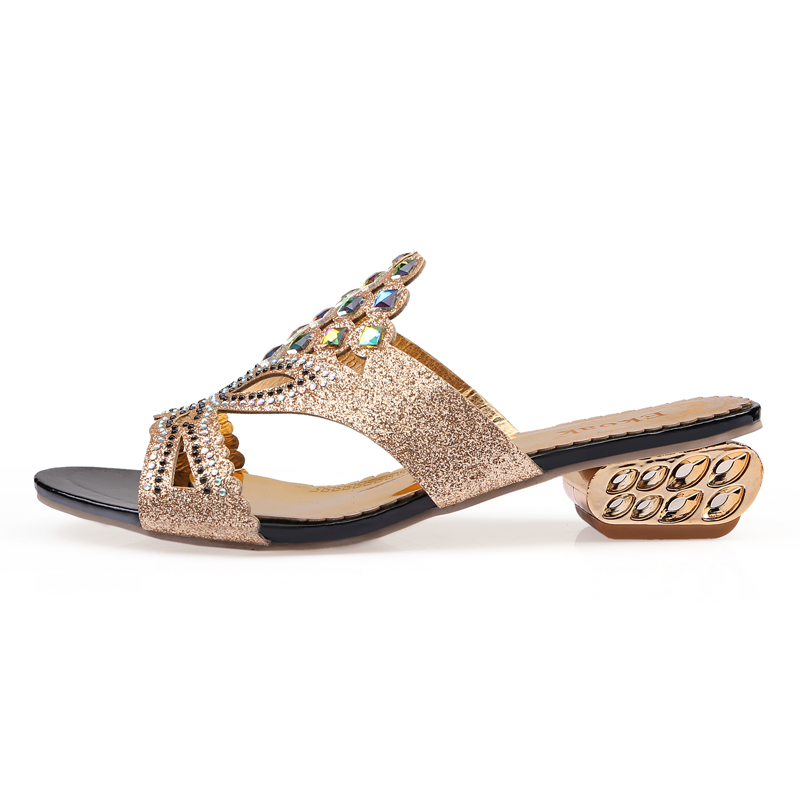 Ekoak Size 36 41 New 2018 Summer Fashion Rhinestone Women Sandals Ladies  Party Shoes Woman Medium Heel Cut outs sandals-in Middle Heels from Shoes  on ... 00f21811a763