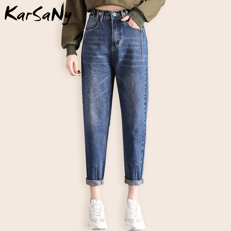 KarSaNy Boyfriend   Jeans   For Women Elastic Waist Loose Straight   Jeans   Woman High Waist Boyfriend   Jean   Femme Denim Pants Vintage