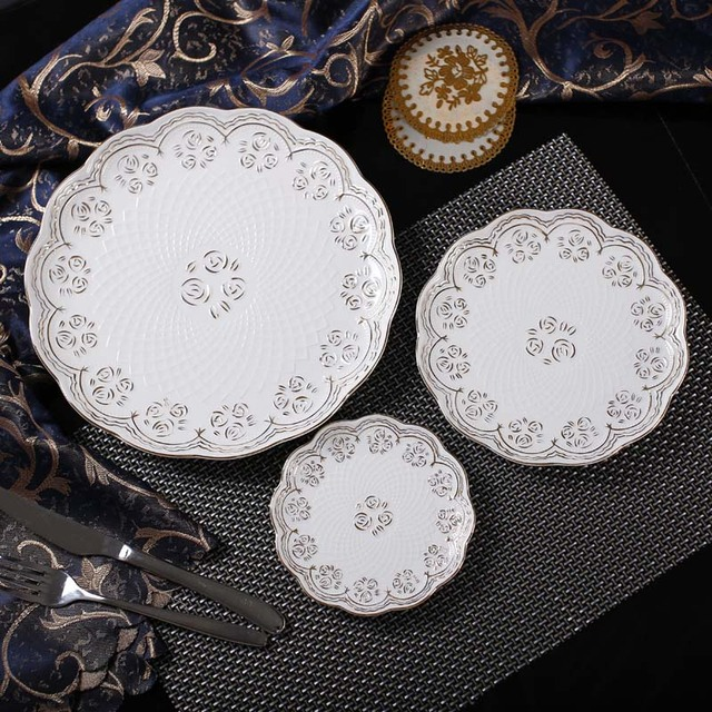 modern style elegant bone china dinner plates set 3 pcs with engraving rose gold - China Dinner Plates