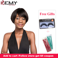 Short Human Hair Wigs With Bangs Natural Black Brown Brazilian Straight Bob Wig For Black Women Non Remy Hair Wigs KEMY HAIR