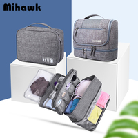 Mihawk 3 Pcs Of Bag Set Travel Cosmetic Digital Cables Wires Bra Underware Toiletry Cosmetic Pouch Case Organizers Accessories