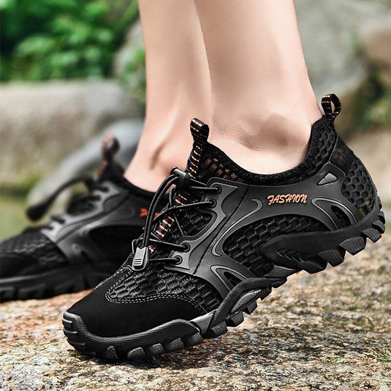 לגפר נעלי גברים גדול גודל 6-12.5 רשת לנשימה הנעלה איש שרוכים אופנה טריז נעלי ספורט ללבוש עמיד
