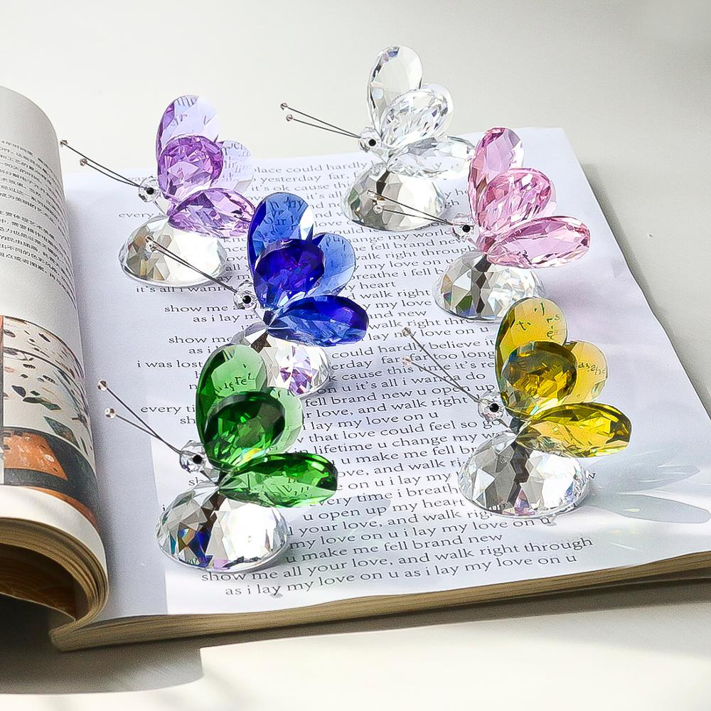 H&D 6 Colors Crystal Butterfly Craft Glass Animal Figurines Miniatures Garden Fairy Ornament Home Decor Wedding Gift Paperweight