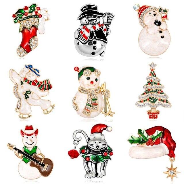 Hadiah Natal Manusia Salju Lucu Topi Merah Sepatu Boot Pohon Natal Bros Berwarna-warni Crytsal Natal Bros untuk Tahun Baru