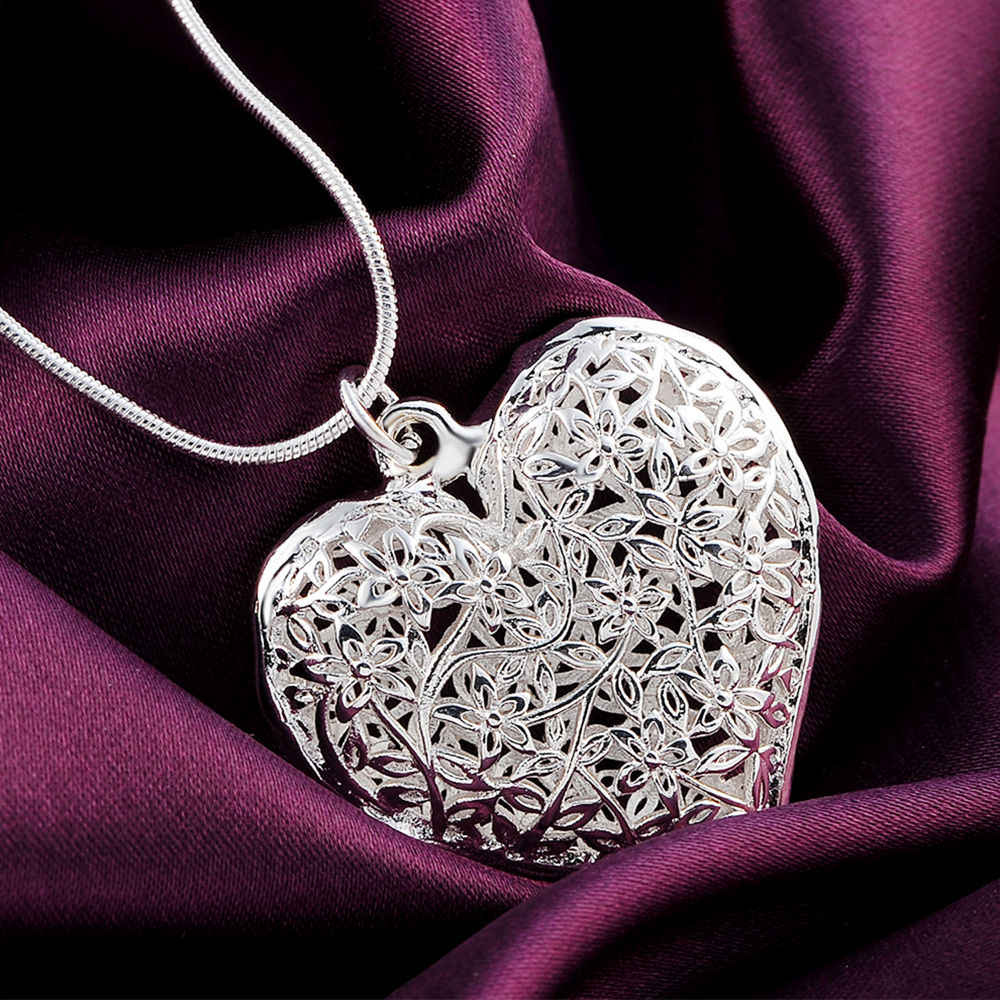 P218 Wholesale Free shipping fashion silver color jewelry elegant charm retro exquisite hollow heart pendant necklace women ,