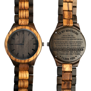 To My Boyfriend The Day I Met You I Found My Missing Piece ENGRAVED WOODEN WATCH