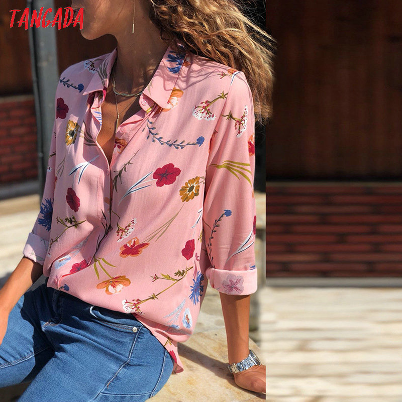 Tangada women flower shirt large sizes autumn 2018 vintage print shirt feminina korean fashion top female womens clothing aon049 4