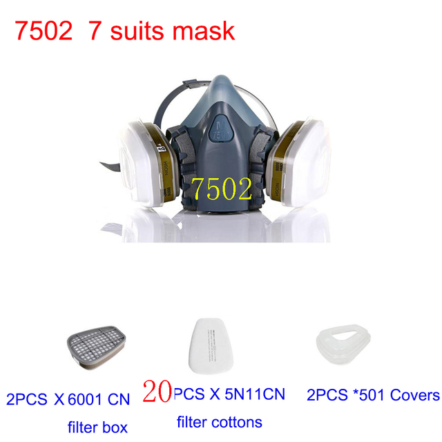 Mask 7502 7Suits Respirator Gas Mask Chemical Dust Filter Paint Dust Spray Masks Half face Mask,Construction/Mining