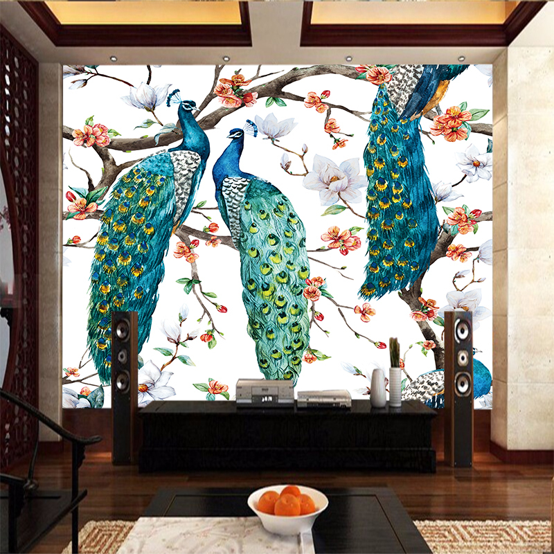 Creative Animal Peacocks Stand Tree PVC Poster Canvas Art Paintings Wall Living Room Bedroom Home Decoration YBZ219