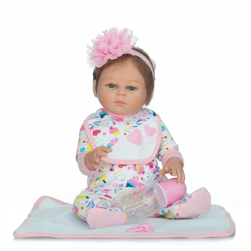 Hot Sale 20'' Looklike Baby Reborn Dolls with Mohair 50cm Real Looking Baby Newborn Full Silicone Baby Birth Xmas Girl Gifts hot sale natural looking dark brown