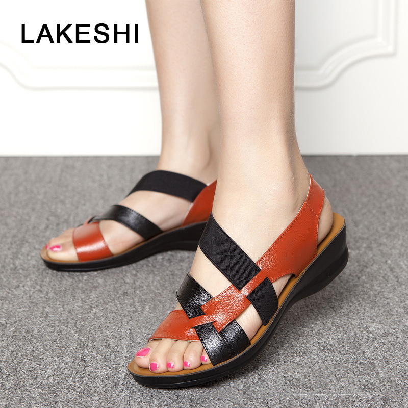 LAKESHI Women Sandals PU Leather Casual Women Shoes Fashion Mother Shoes Wedges Sandals Mixed Colors Ladies Shoes Summer Sandals